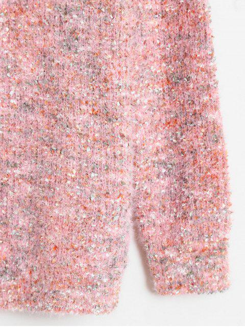 shop Drop Shoulder Mixed Yarn Fluffy Sweater - MULTI ONE SIZE Mobile