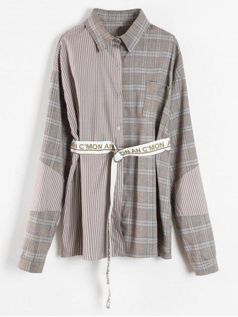 womens Patchwork Shirt With Graphic Belt - MULTI ONE SIZE Mobile