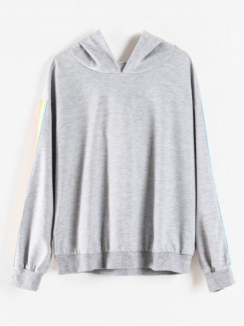 new Rainbow Stripe Plus Size Hoodie - LIGHT GRAY 3X Mobile