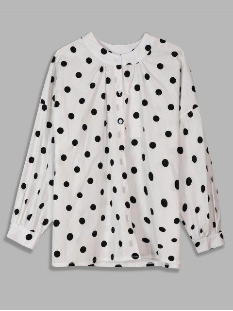 outfit Gathered Round Neck Polka Dot Shirt - WHITE XL Mobile