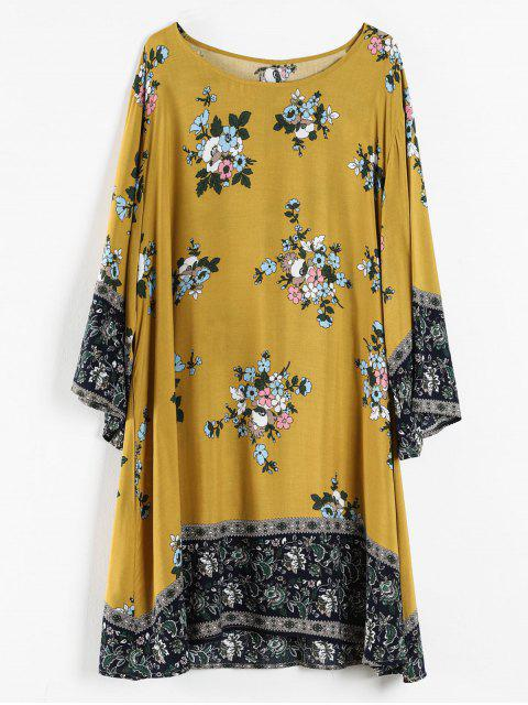 online Plus Size Floral Print Tunic Dress - ORANGE GOLD 3X Mobile