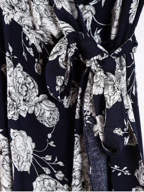 hot Floral Ruffle Plus Size Wrap Dress - DEEP BLUE 2X Mobile
