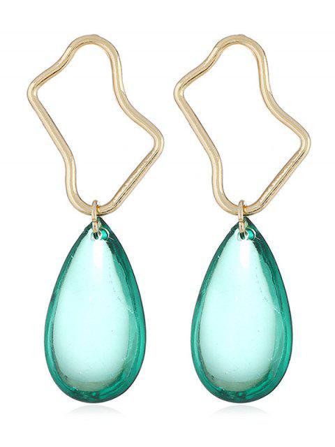 women Irregular Geometric and Water Drop Shape Dangle Earrings - LIGHT AQUAMARINE  Mobile