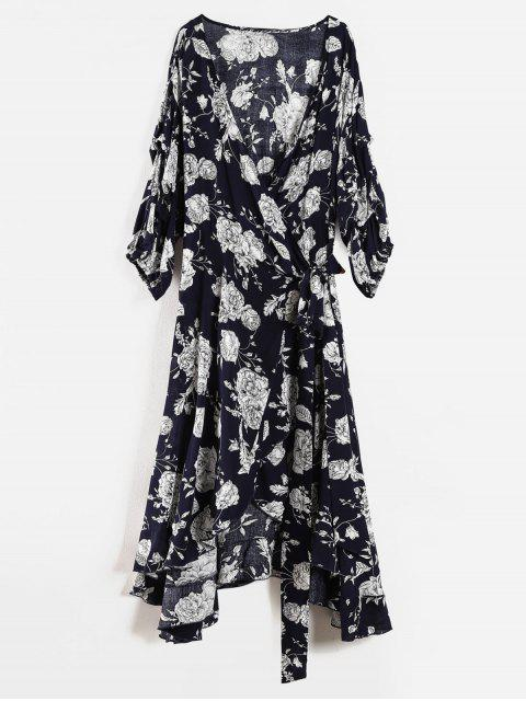 women's Floral Ruffle Plus Size Wrap Dress - DEEP BLUE 1X Mobile