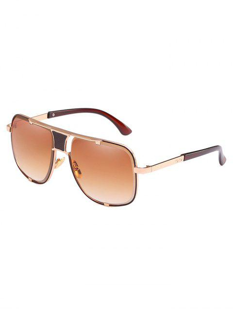 chic Anti Fatigue Metal Square Frame Sunglasses - CAMEL BROWN  Mobile