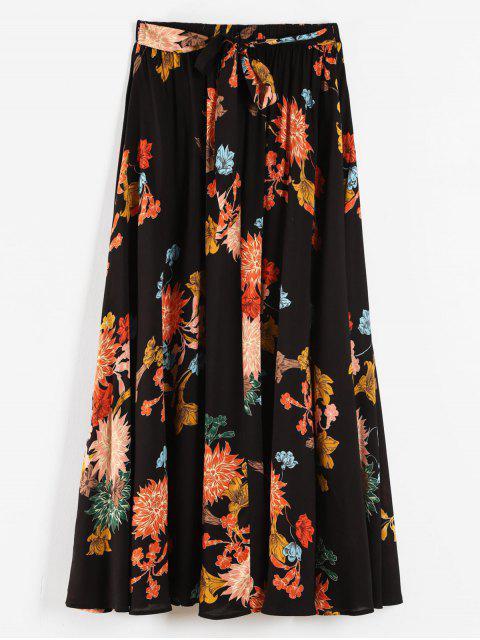 fancy Plus Size Flowy Floral Maxi Skirt - BLACK 1X Mobile
