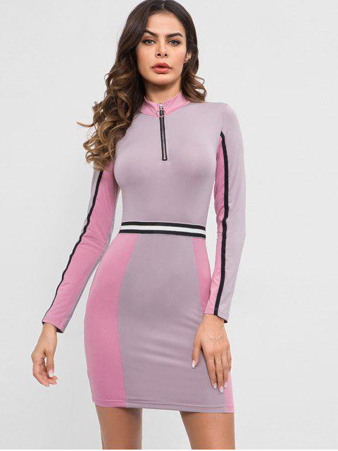 hot Half Zip Contrast Fitted Dress - WISTERIA PURPLE M Mobile
