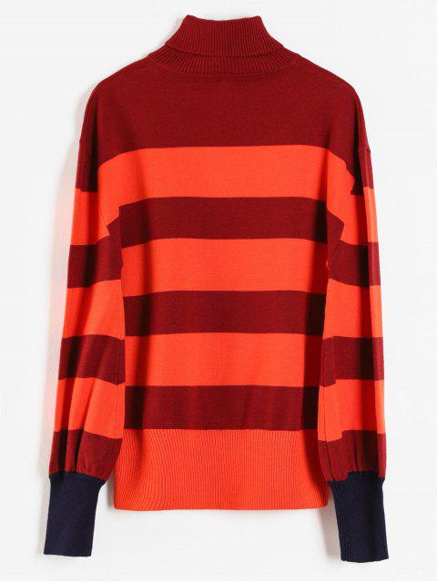 fashion Wide Striped Turtleneck Jumper - MULTI ONE SIZE Mobile
