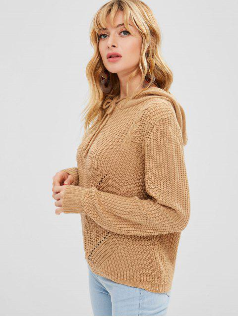best Hooded Hollow Out Sweater - TAN ONE SIZE Mobile