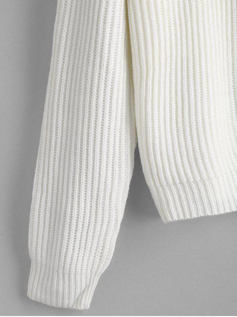 outfit Buttoned Collared Sweater - WHITE ONE SIZE Mobile
