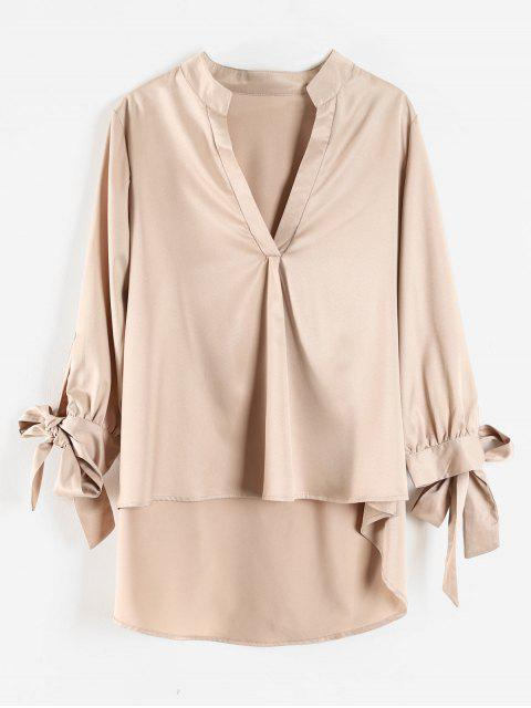 shops Tie Sleeve High Low Top - CHAMPAGNE M Mobile