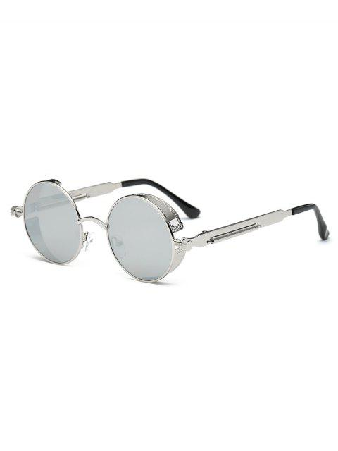 new Metal Frame Flat Lens Round Sunglasses - SILVER  Mobile