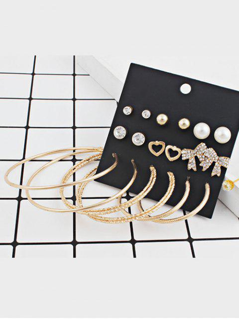 Conjunto de Aretes de Forma de Corazón Bowknot Forma Redonda Aleación - Oro  Mobile