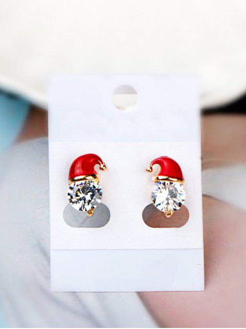 shops Christmas Hat Faux Crystal Stud Earrings - RED  Mobile