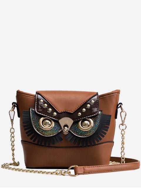 new PU Leather Owl Shape Crossbody Bag - KHAKI  Mobile