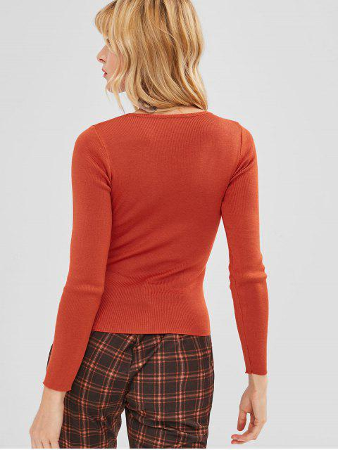 outfit Cut Out Grommet Knitwear - ORANGE ONE SIZE Mobile