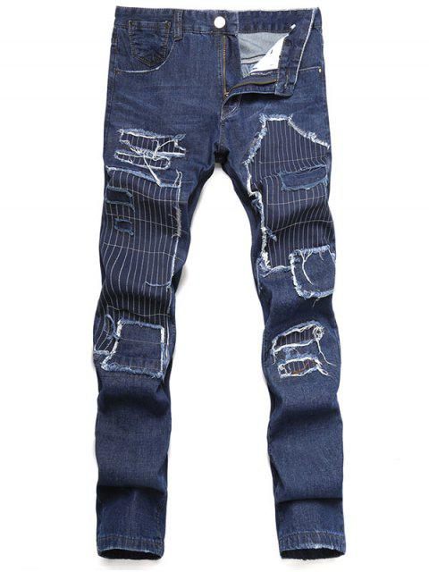shop Zip Fly Straight Leg Distressed Jeans - DARK SLATE BLUE 34 Mobile