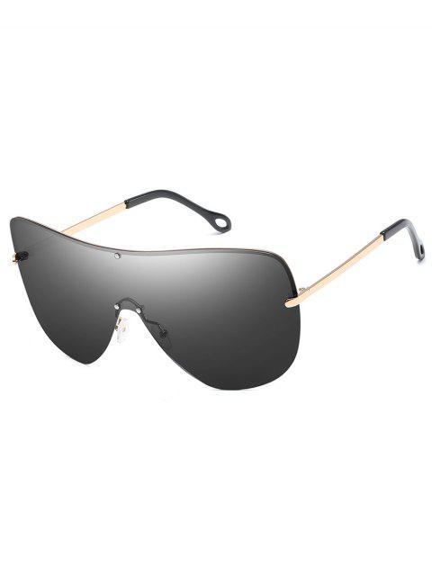 trendy Anti Fatigue Rivets Shield Sunglasses - CHAMPAGNE GOLD  Mobile