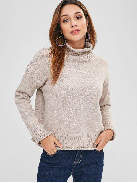 new Turtleneck Cuffed Sweater - LIGHT KHAKI ONE SIZE Mobile