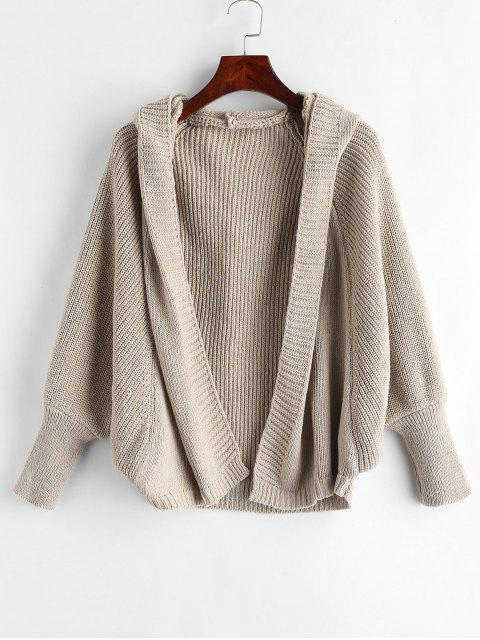 sale Hooded Open Front Batwing Cardigan - ANTIQUE WHITE ONE SIZE Mobile