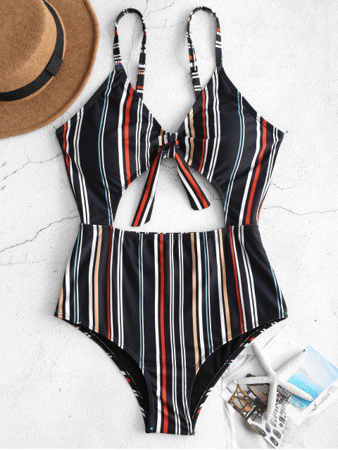 women's ZAFUL Striped Cutout One Piece Swimsuit - MULTI S Mobile