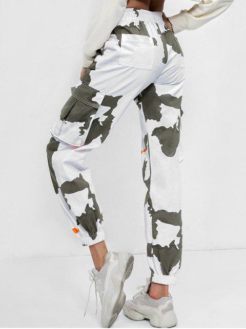affordable Mid Waist Printed Jogger Pants - MULTI L Mobile