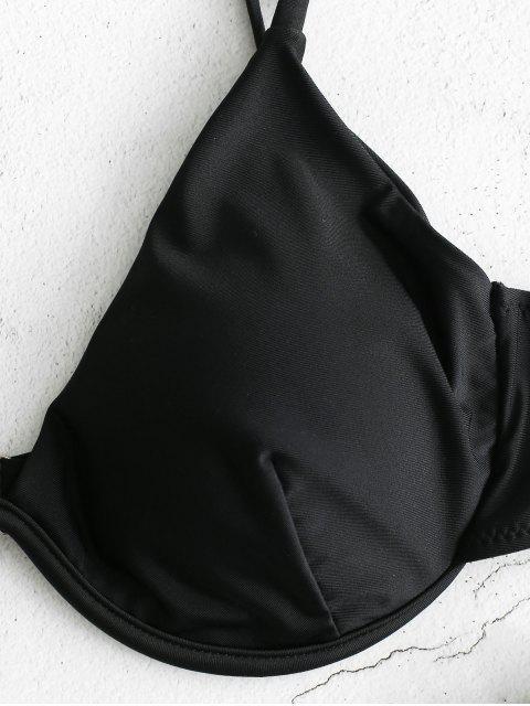 affordable ZAFUL Leopard Push Up Underwire Bikini Swimsuit - BLACK S Mobile