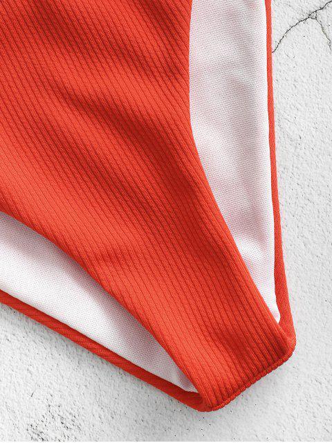 women's ZAFUL Back Knot Tank Bikini Set - LAVA RED S Mobile