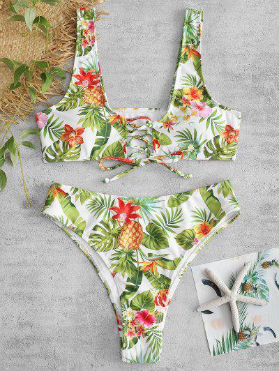 b73a2e962c ZAFUL Pineapple Flower Lace Up Bikini Set - White L