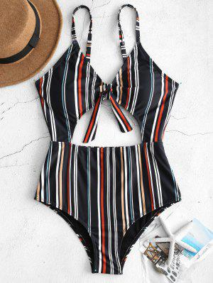 zaful ZAFUL Striped Cutout One Piece Swimsuit