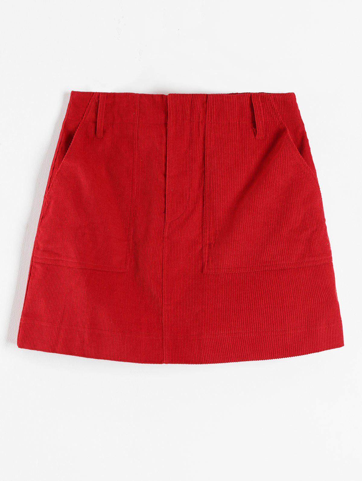 ZAFUL Corduroy Pocket Short Skirt, Red