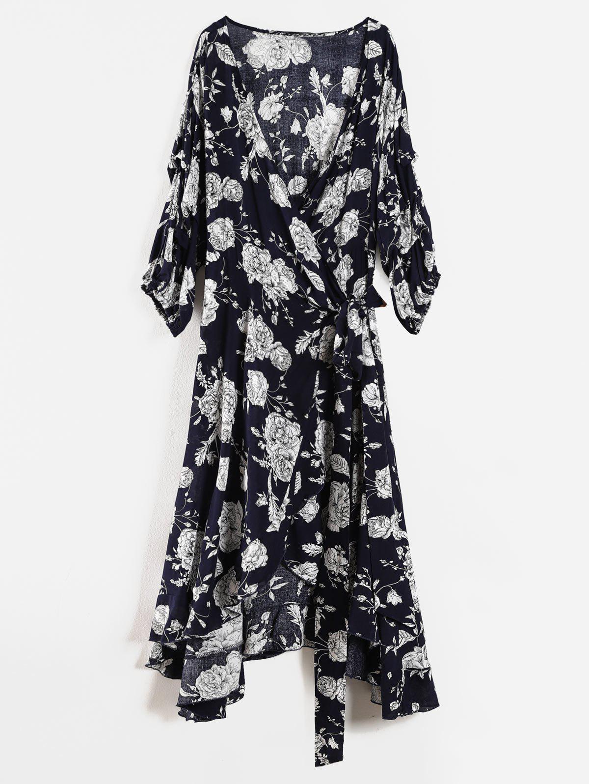 Floral Ruffle Plus Size Wrap Dress 298876604