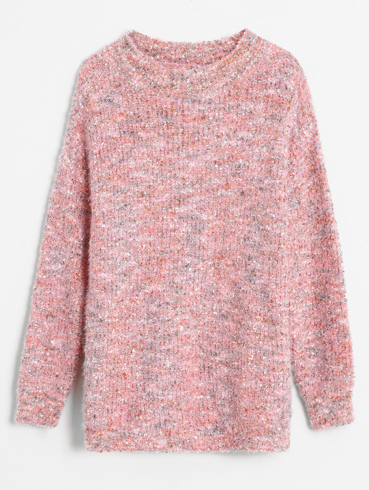 Drop Shoulder Mixed Yarn Fluffy Sweater