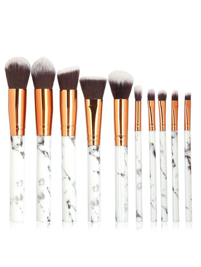 10 Pcs Marble Handles Extra Soft Silky Cosmetic Brush Suit
