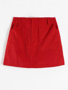 ZAFUL كودور جيب تنورة قصيرة - أحمر M