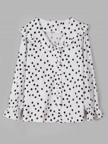 قميص مزين بنقوش البولكا دوت - أبيض M