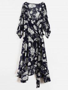 الأزهار الكشكشة بالاضافة الى حجم التفاف اللباس - ازرق غامق 1x