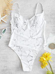 ZAFUL رخام ثونغ قطعة واحدة ملابس السباحة - أبيض L
