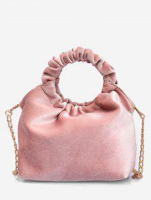 الصلبة جولة شكل مقبض حقيبة يد - وردي فاتح