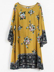 بالإضافة إلى حجم الأزهار طباعة تونك اللباس - الذهب البرتقالي 1x