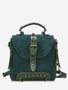 حقيبة ظهر للبنات من ماركة Mini Buckle Rivet - البحر الاخضر