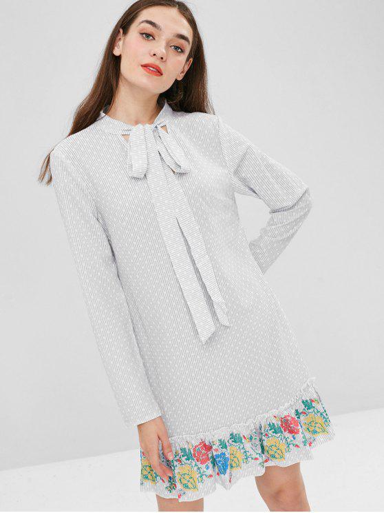 Rüschen Gestreiftes Langarm-Kleid - Grau XL