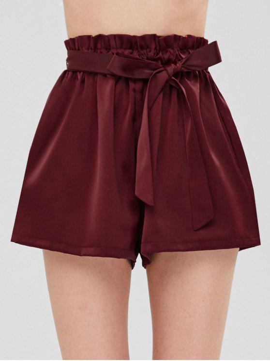 010b6656e3 27% OFF] 2019 Smocked Belted High Waisted Shorts In WINE RED | ZAFUL