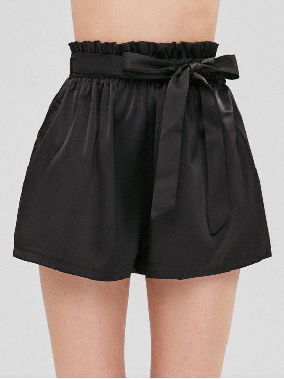 Short Taille Haute Smocké à Ceinture - Noir Taille Unique