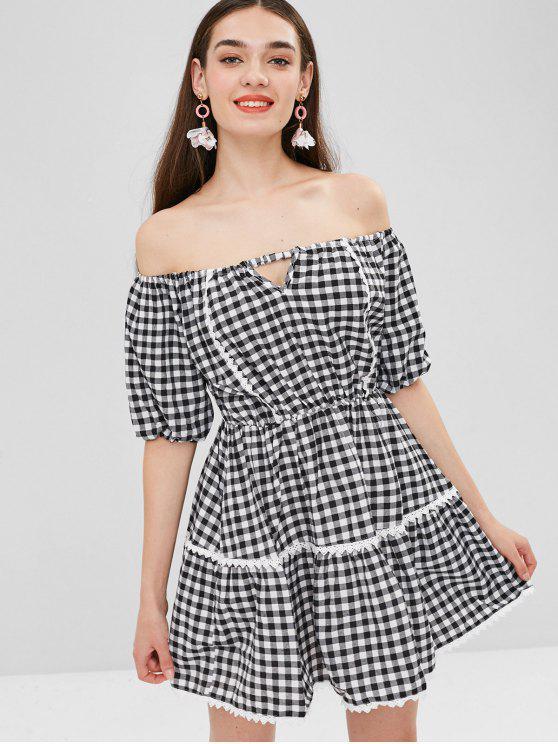 فستان منقوش بلا اكتاف ذو فتحات - التحقق M