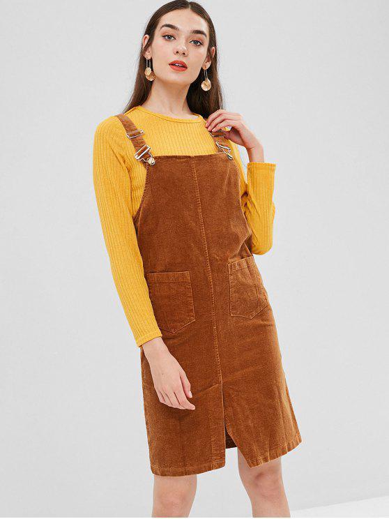 فستان قصير من الساتان - الكراميل M