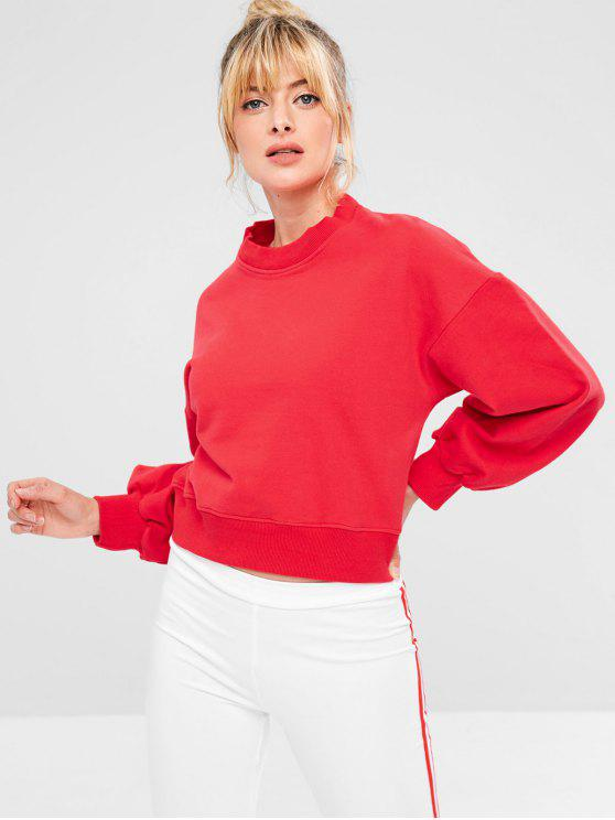 shops Sports Drop Shoulder Short Sweatshirt - RED L
