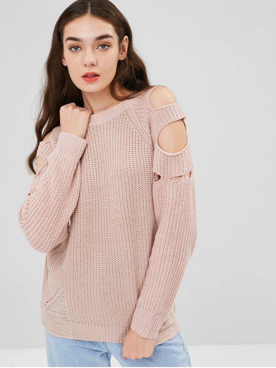 Cut Out Ripped Chunky Sweater - ساكورا بينك حجم واحد