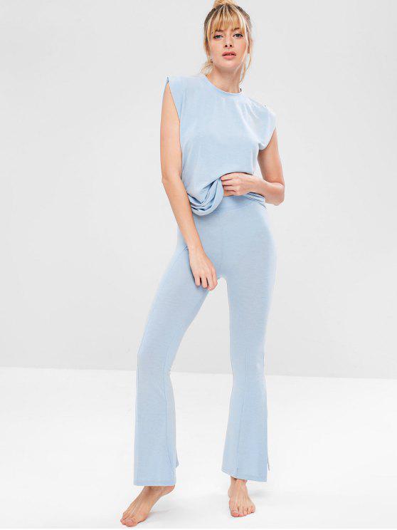 Conjunto de pantalones sin mangas y pantalones acampanados de yoga - Azul Claro L
