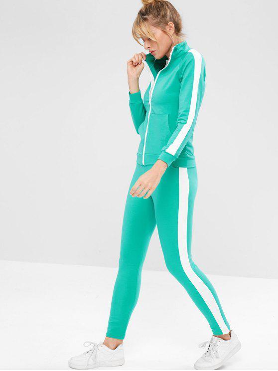 Ensemble de Veste de Sport avec Poche et de Pantalon - Bleu Vert L